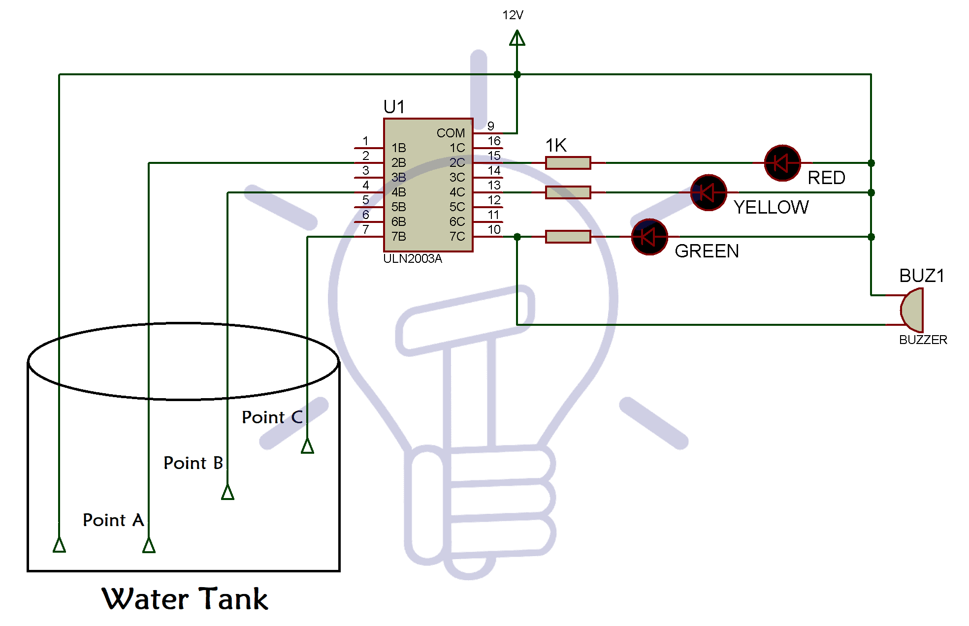hight resolution of water level indicator circuit diagram using bc547 and uln 2003 ic water level indicator circuit schematic circuit diagram and