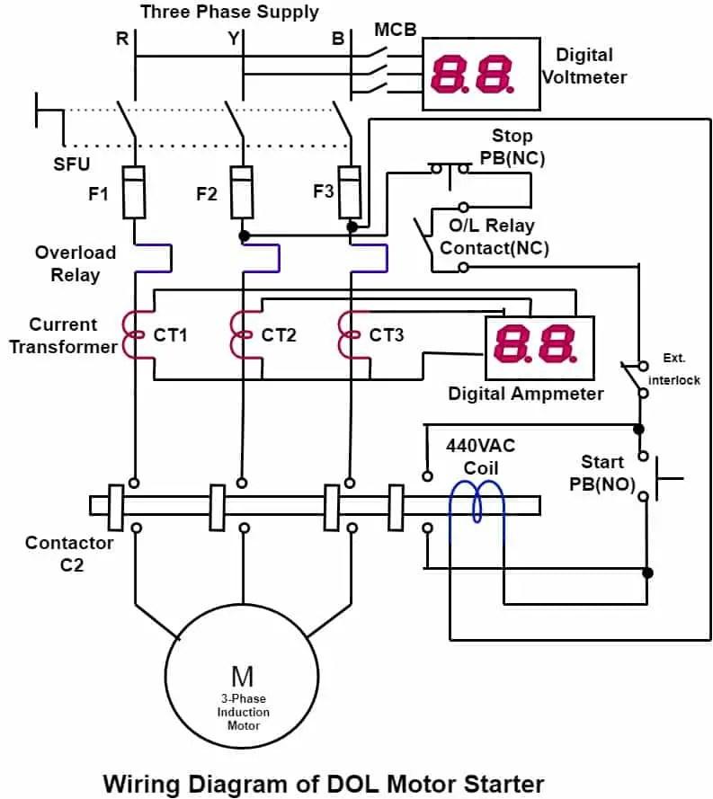 Direct Online Starter (DOL Motor Starter) : Circuit