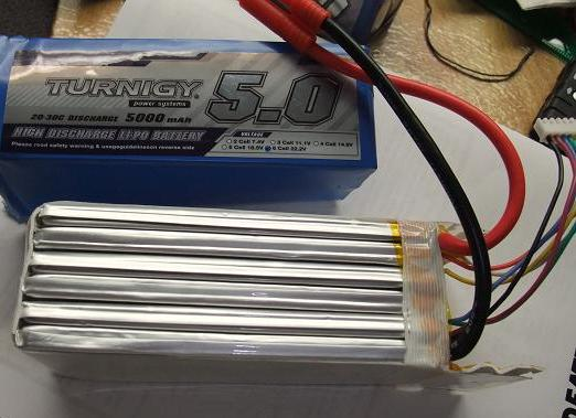 6S LiPo pack with the cover removed, showing the flat foil-packs