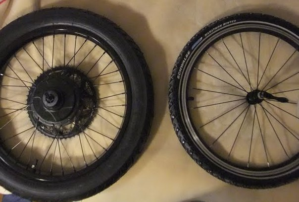 One of these tires is a common 20 X 1.60-inch...and the other is a 16-inch moped tire X 2.50 wide...