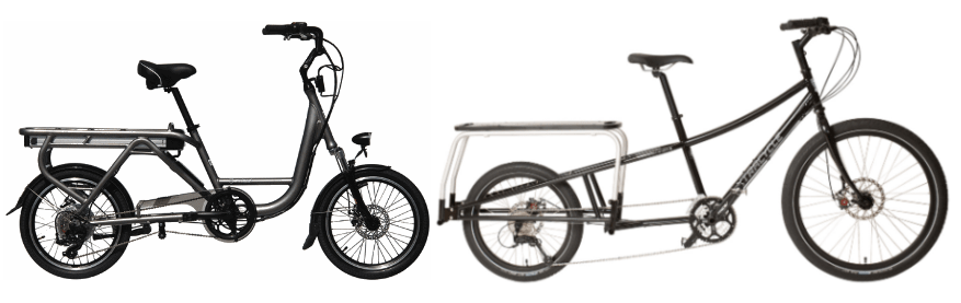 The Juiced Riders ODK-II is on the left, and the Edgerunner is on the right. these two are the kings of the cargobikes right now.
