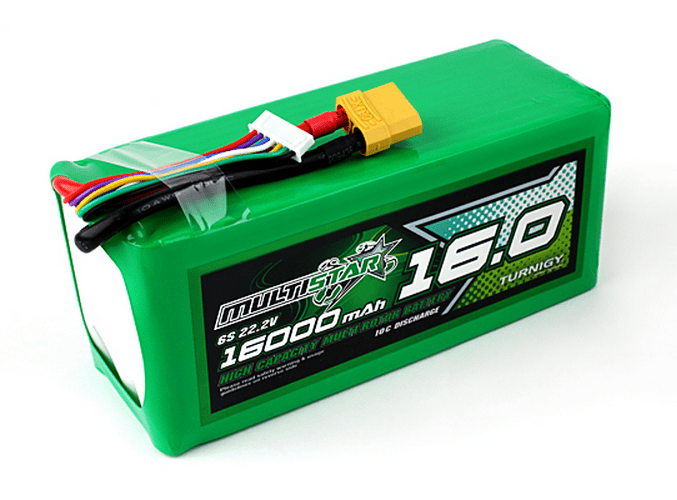 Hobby King Multistar Lithium Polymer (LiPo). This single brick is 16-Ah at 6S. If you wanted 12S (44V) you'd only need two of them, and 18S (72V) is only three of them.
