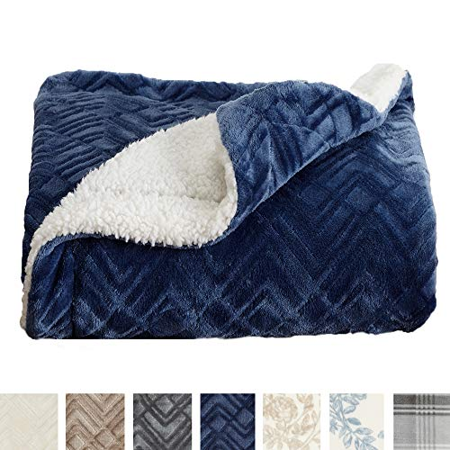 Home Fashion Designs Premium Reversible Sherpa And Sculpted Velvet Plush Luxury Blanket Fuzzy Soft Warm Berber Fleece Bed Blanket Brand Twin Navy Electric Blankets Shop