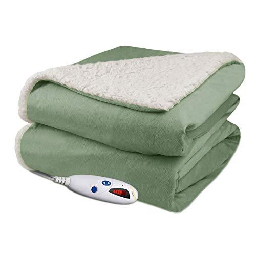 Biddeford Velour Sherpa Electric Heated Warming Throw Blanket Sage Washable Auto Shut Off 6 Heat Settings Electric Blankets Shop