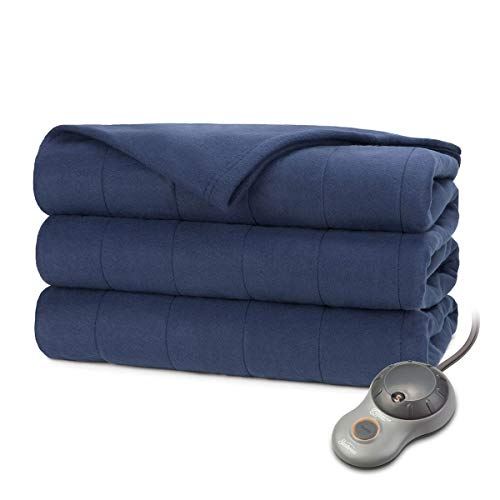 Sunbeam Heated Electric Blanket Quilted Fleece Royal Dreams King Newport Blue