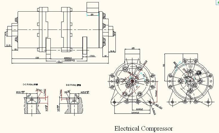 DC Air Conditioner Compressor and Controller 48-610V DC