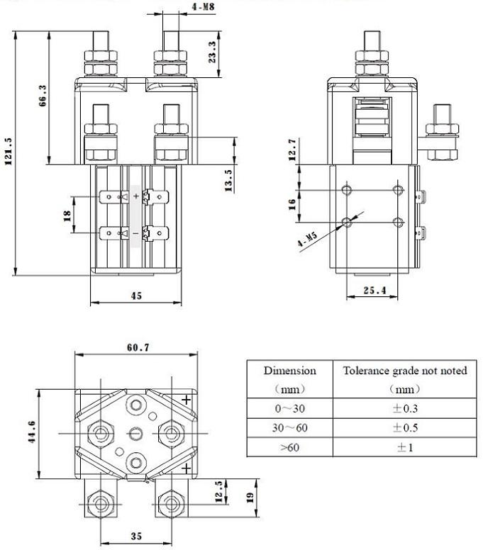200A 12,000W, 12kW 12V-1000A 12V DC Coil EV Contactor Set