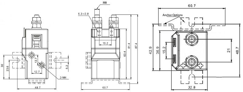 100A 6000W, 6kW Contactor 12V-500A, 24V-250A, 48V-125A
