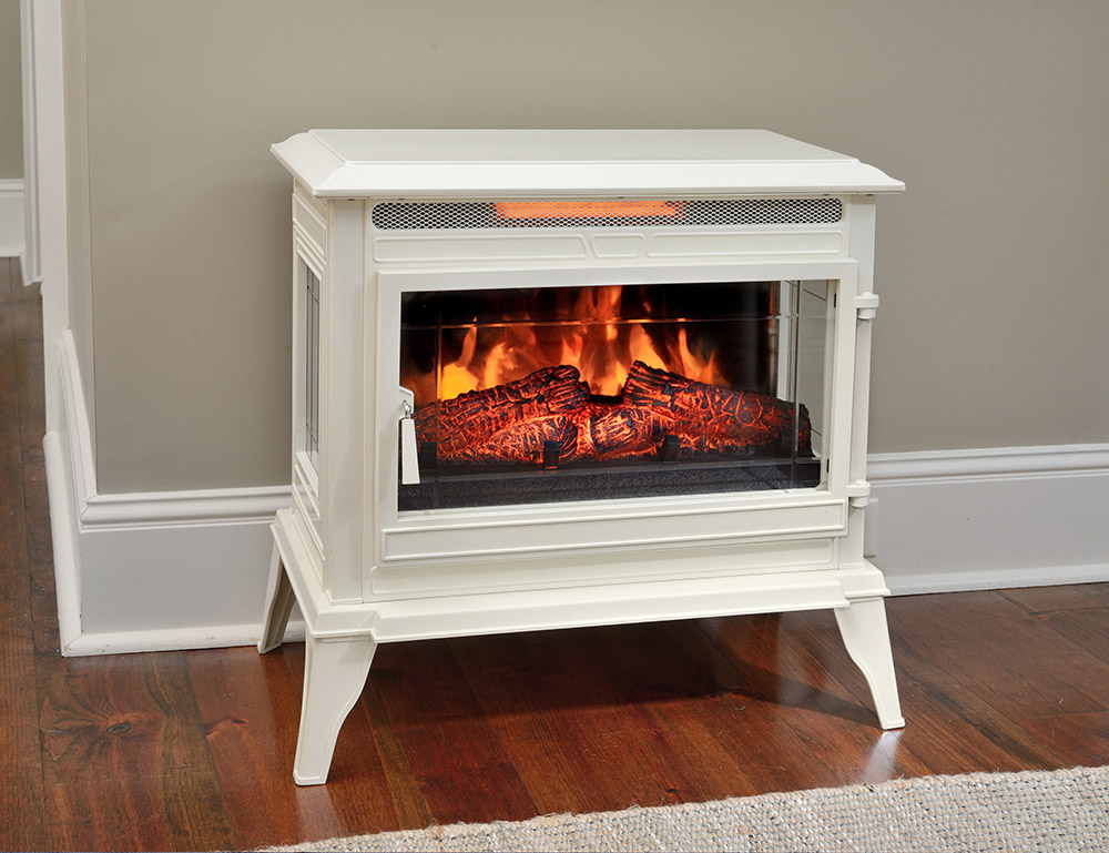 Comfort Smart Jackson Cream Infrared Electric Fireplace Stove with Remote Control  CS25IRCRM