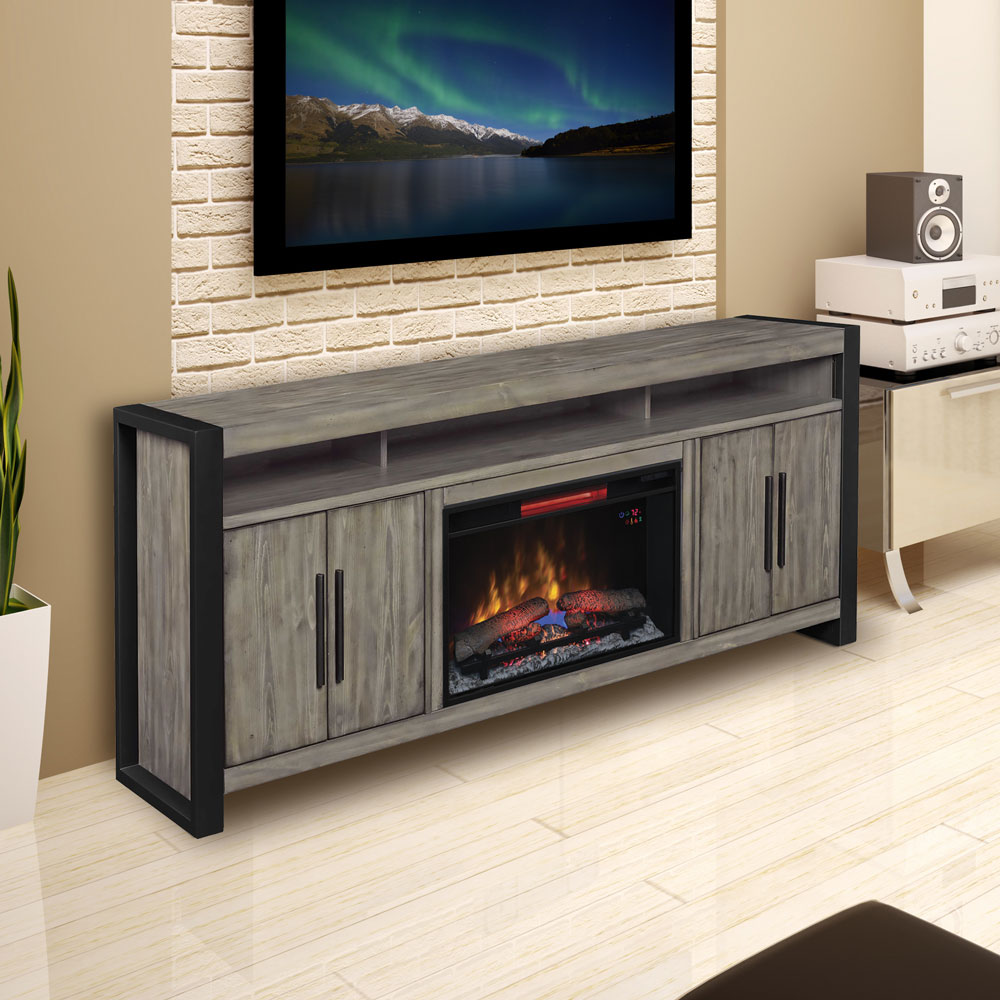 Costa Mesa 72In Electric Fireplace Entertainment Center in Spanish Grey