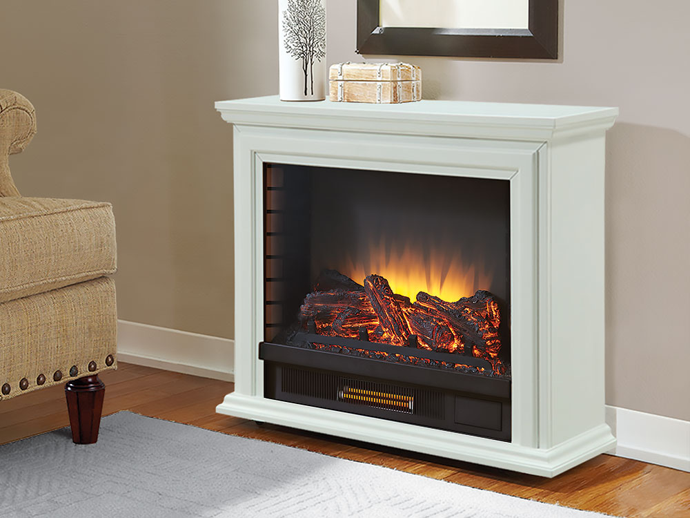 Sheridan Infrared Rolling Electric Fireplace White  GLF500250  Pleasant Hearth
