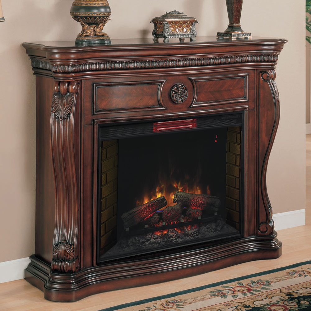 Lexington 33In Infrared Empire Cherry Electric Fireplace Cabinet Mantel Package  33WM881C232