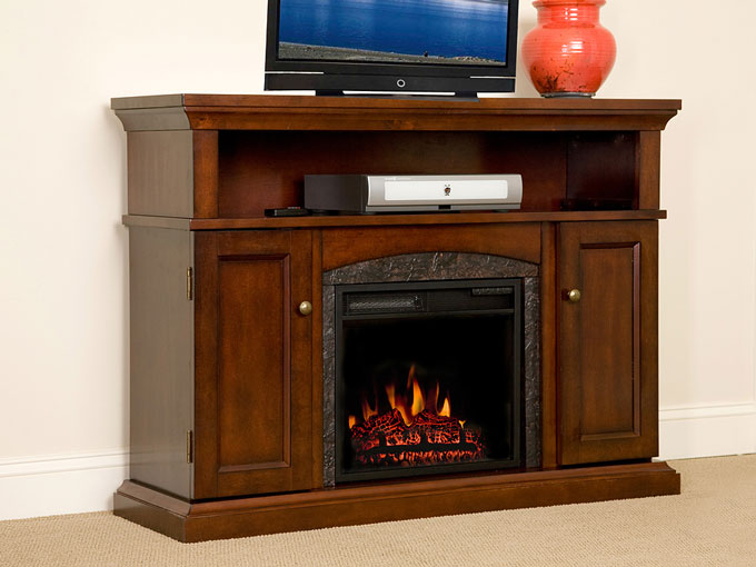 Lynwood 18 Vintage Cherry Media Console Electric Fireplace Cabinet Mantel Package  18MM4105C233
