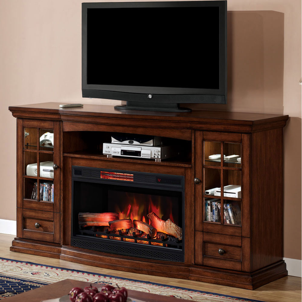 Seagate Infrared Electric Fireplace Entertainment Center in Premium Pecan 32MM4486P239