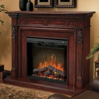 Torchiere Burnished Walnut Electric Fireplace Mantel