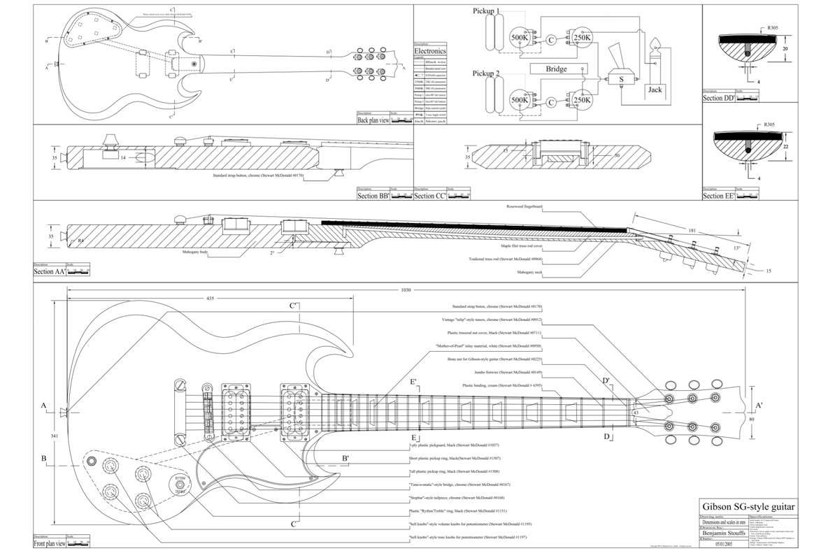 hight resolution of gibson sg custom guitar templates electric heraldgibson sg complete building plans