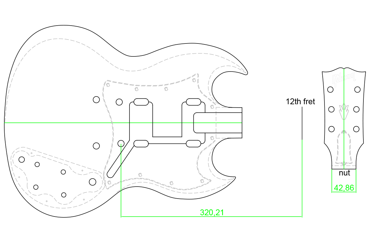 hight resolution of gibson sg body headstock