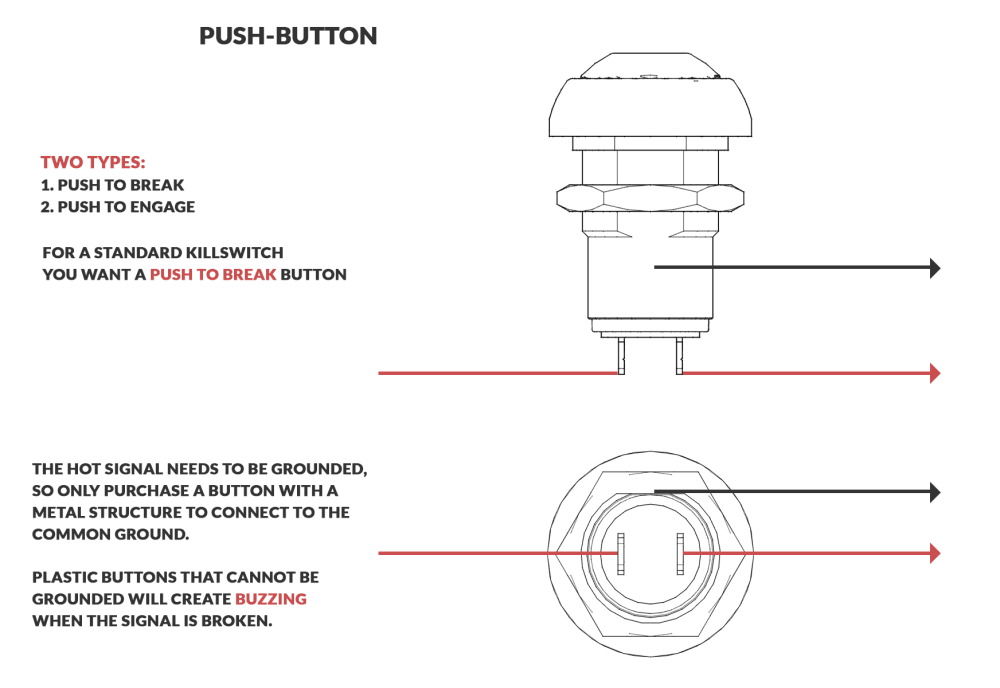 medium resolution of an image displaying the breakdown of how a momentary killswitch button is wired and functions