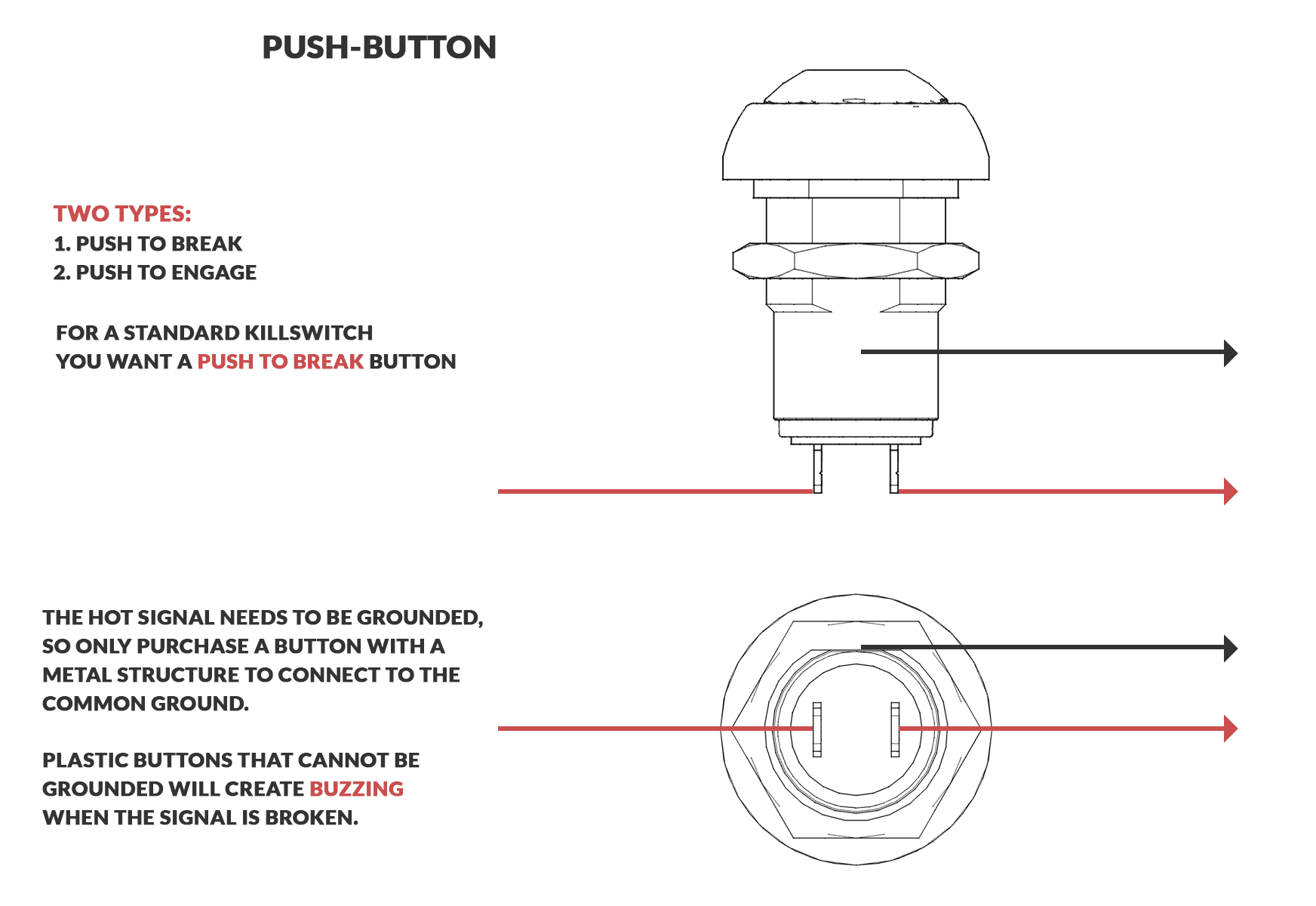 hight resolution of an image displaying the breakdown of how a momentary killswitch button is wired and functions