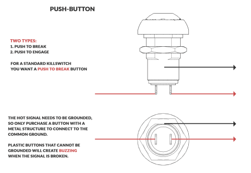 small resolution of an image displaying the breakdown of how a momentary killswitch button is wired and functions