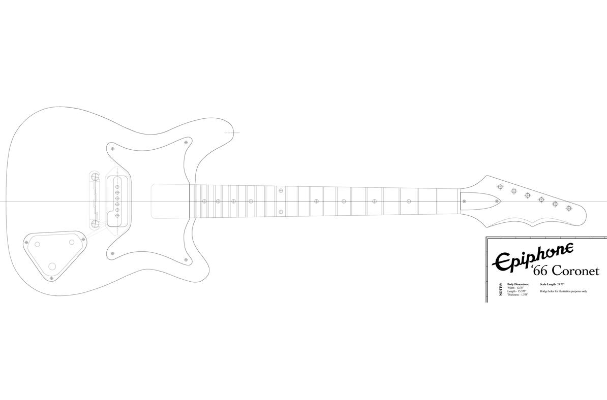 hight resolution of epiphone coronet guitar templates