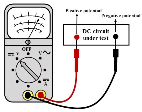 a digital multimeter measuring dc circuit