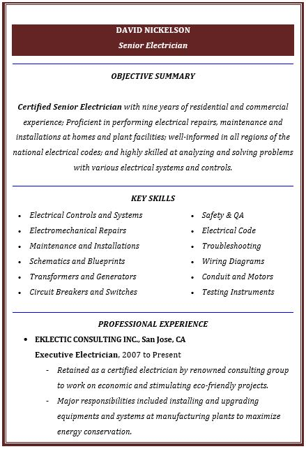 Electrician Resume | Electrician Mentor