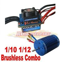 SkyQ Racing 60A ESC Brushless Speed Controller + 10T 3900KV Motor for 1/10 1/12 RC Car