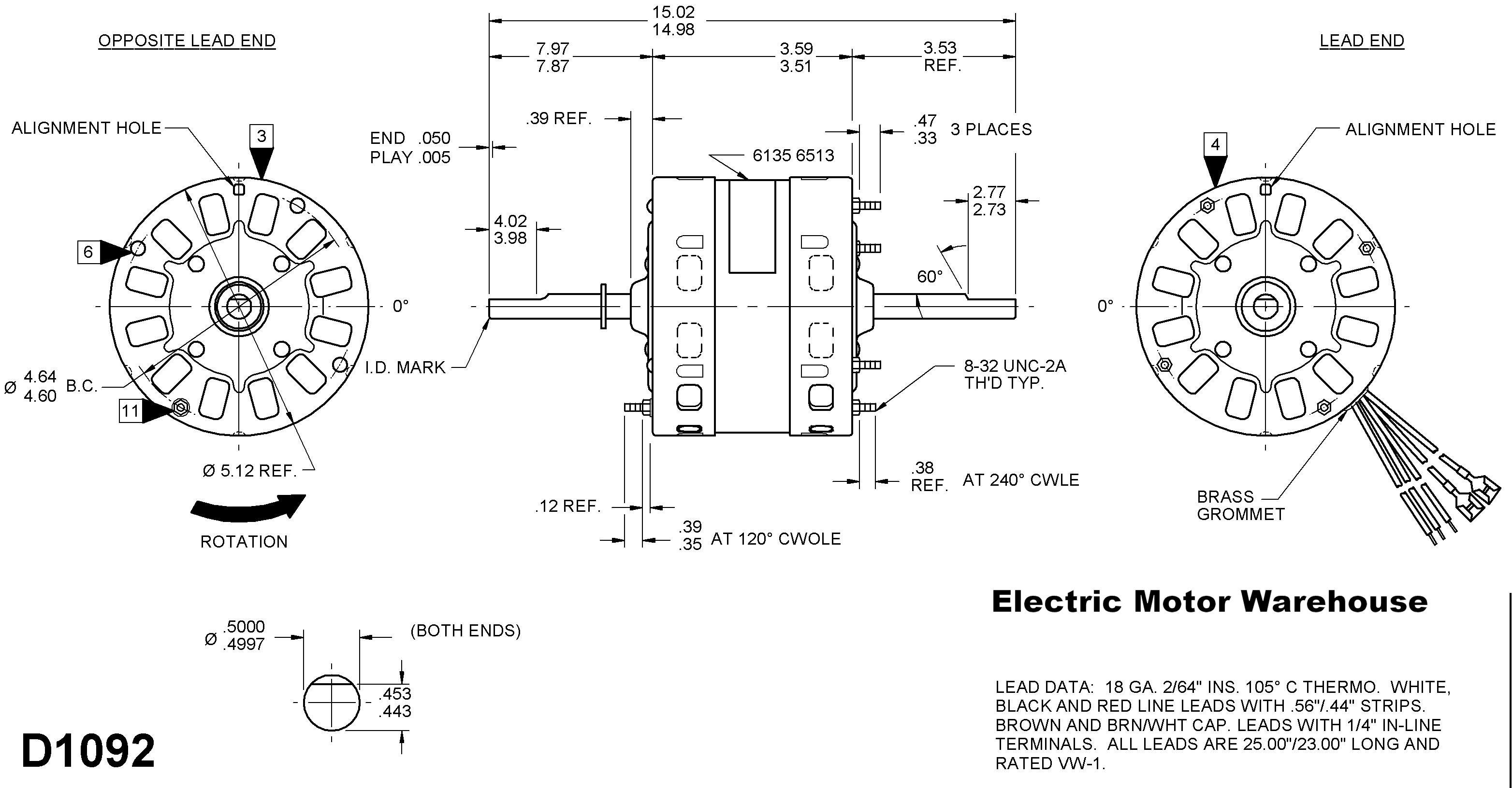 Emerson 2hp Electric Motor Wiring Diagram 1 3 Hp 115v 1625 Rpm 2 Speed Rv Air Conditioner Motor