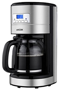 Aicok 12 Cup Coffee Maker, Drip Coffee Maker Stainless Steel, Programmable Coffee Maker with Timer and Reusable Mesh Filter, Black