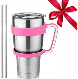 Stainless Steel Tumbler Travel Mug - 30 Oz Tumbler Insulated Coffee Mug with Removable Handle No-Spill Lid and 2 Stainless Steel Straws (Pink Grip)