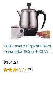 Farberware Fcp280 Steel Percolator 8 Cup 1000W Detachable Cord