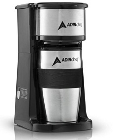 AdirChef Grab N' Go Personal Coffee Maker with 15 oz. Travel Mug, Black Stainless Steel