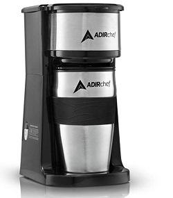 AdirChef Grab N' Go Personal Coffee Maker with 15 oz. Travel Mug, Black Stainless Steel