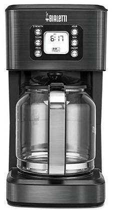 2A Bialetti (35041) 14-Cup Glass Carafe Coffee Maker, Black Stainless Steel