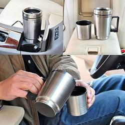 WOPUS 12V in-Car Coffee Maker Tea Pot Thermos Bottle Stainless Steel Heating Cup