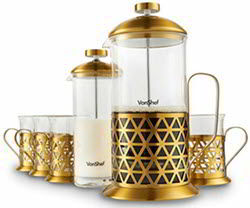 VonShef French Press Coffee Cafetiere Set with Milk Frother