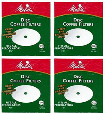 Melitta 3.5 Inch White Disc Coffee Filters (Pack of 4)