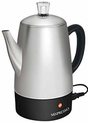 Mixpresso Electric Coffee Percolator Stainless Steel Coffee Maker Percolator Electric Pot - 10 cups
