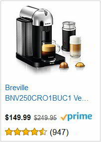 Breville BNV250CRO1BUC1 Vertuo Coffee and Espresso Machine