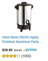 West Bend 58030 Highly Polished Aluminum Party Coffee Maker