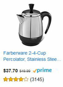 Farberware 2 – 4 Cup Stainless Steel Percolator