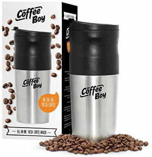 Coffee Boy All-in-One Portable Coffee Maker, with Rechargeable Electric Ceramic Coffee Grinder