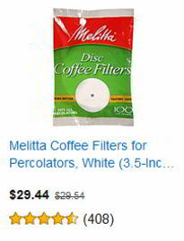 Melitta Coffee Filters for Percolators, White (3.5-Inch Discs), 100-Count Filters (Pack of 24)