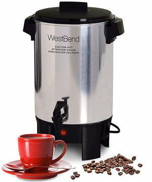 West Bend 58030 Highly Polished Aluminum Party Perk Coffee Urn Silver