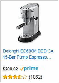 Delonghi EC680M DEDICA 15-Bar Pump Espresso Machine, Stainless Steel