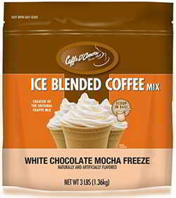 Caffe D'Amore Blended Ice Coffee Mix, White Chocolate Mocha Freeze, 3 Pound Bag