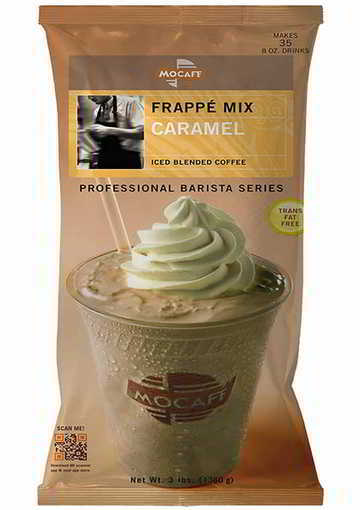 MOCAFE Frappe Caramel Ice Blended Coffee, 3-Pound Bag Instant Frappe Mix, Coffee House Style Blended Drink