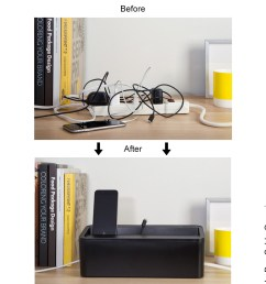 in box under desk cable organizer in box desktop charging station wiring organizer box [ 1200 x 1200 Pixel ]