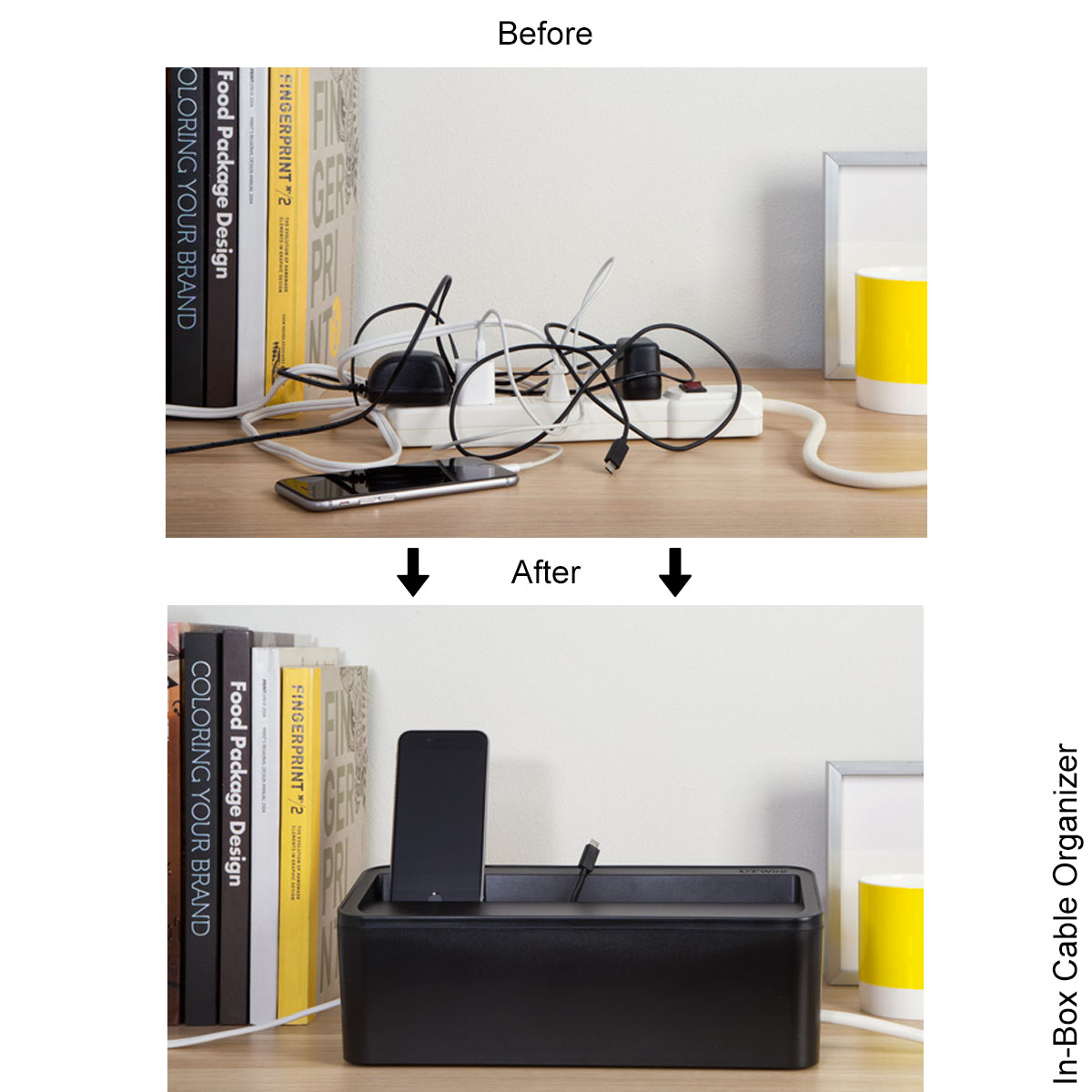 hight resolution of in box under desk cable organizer in box desktop charging station wiring organizer box